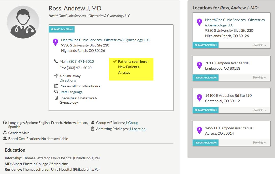 Provider Directory Information