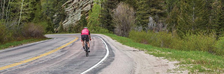 road-biker-in-Colorado-mountains