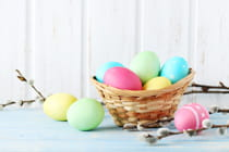 Easter-eggs-on-a-blue-wooden-table