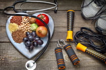 healthy-food-and-exercise-equipment-with-stethoscope