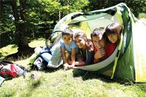 hispanic family camping
