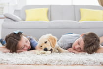 young-children-sleeping-on-floor-with-puppy