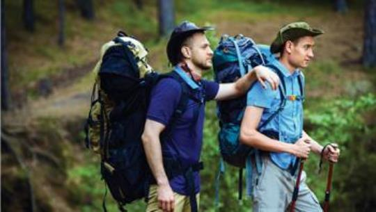 two-young-men-hiking-in-Colorado-wilderness
