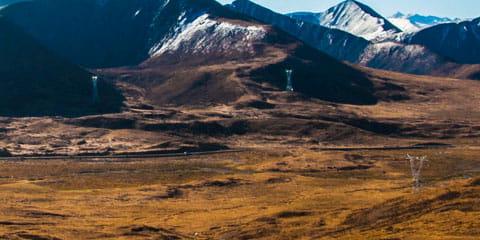 mountain range with blue sky