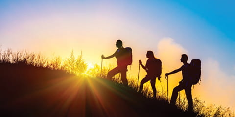 silhouette-of-hikers-against-a-sunrise