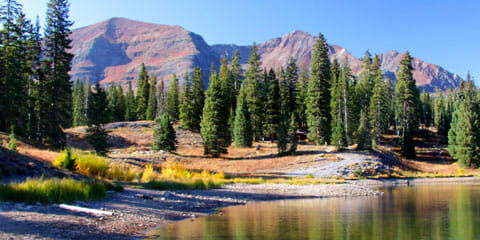 a boat on the lake in the colorado mountains during fall